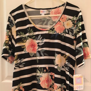Lularoe XL Perfect T Shirt B & W Stripes Roses